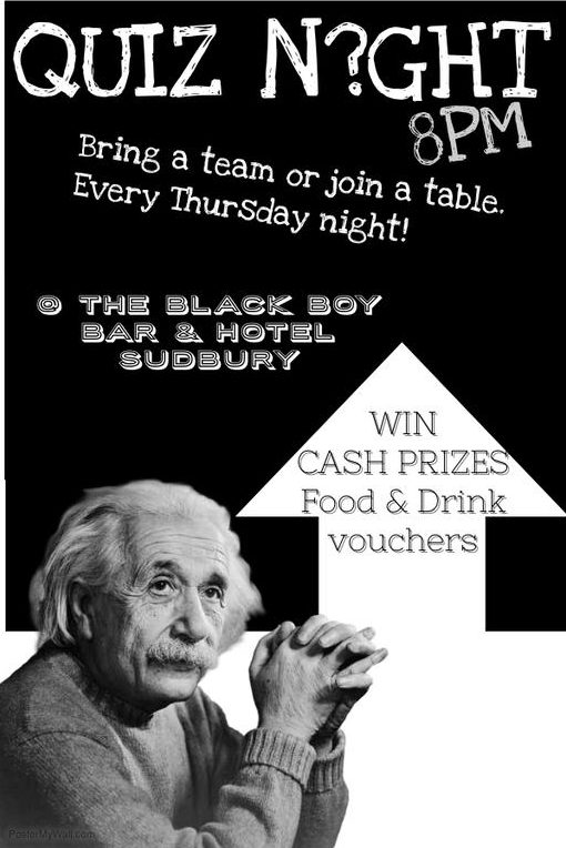 Pub Quiz ever Thursday from 8pm
